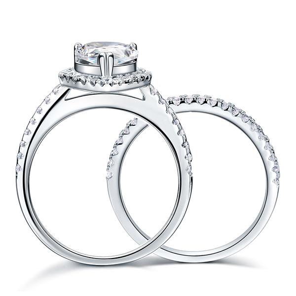 Solid Sterling 925 Silver Bridal Wedding Promise Engagement Ring Set 2 Ct Pear Jewelry XFR8224