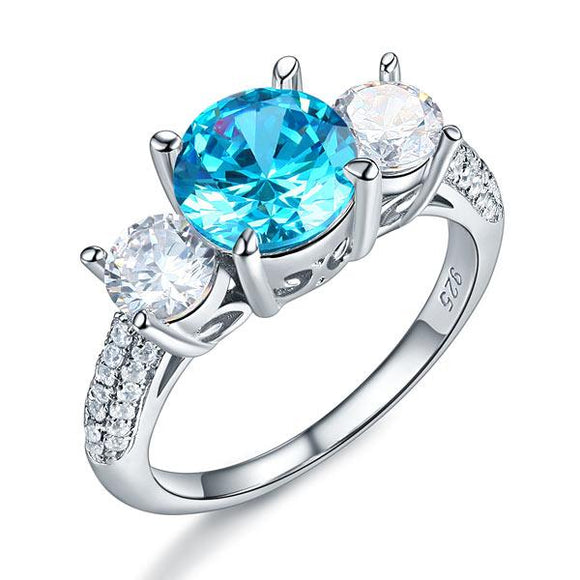 925 Sterling Silver 3-Stone Bridal Ring 2 Carat Created Blue Diamond Vintage Style Jewelry XFR8226