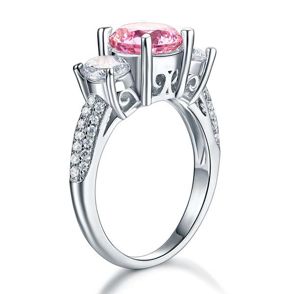 925 Sterling Silver 3-Stone Wedding Ring 2 Carat Fancy Pink Created Diamond Jewelry Vintage Style XFR8227