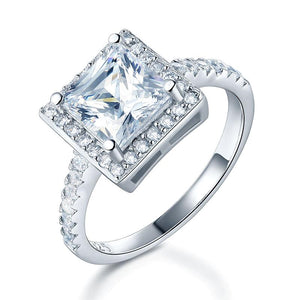 1.5 Ct Princess Created Diamond Solid 925 Sterling Silver Wedding Anniversary Engagement Ring Jewelry