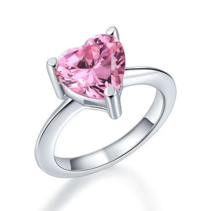 Newborn Baby 925 Sterling Silver Ring Pink Heart Created Diamond Photo Prop XFR8232