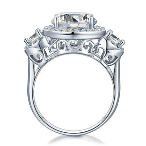 Three-Stone 925 Sterling Silver Promise Engagement Ring Vintage Victorian Art Deco 3.5 Ct XFR8236