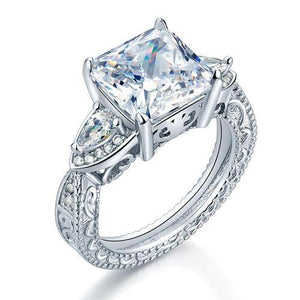 Luxury 925 Sterling Silver Wedding Engagement Ring Vintage 4 Ct Created Diamond