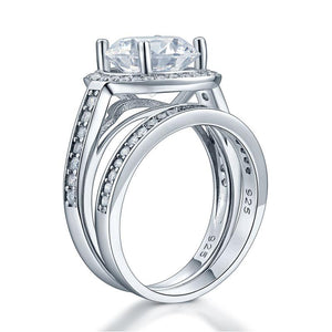 Luxury 925 Sterling Silver Promise Engagement Ring Set 3.5 Ct Vintage Created Diamond XFR8240