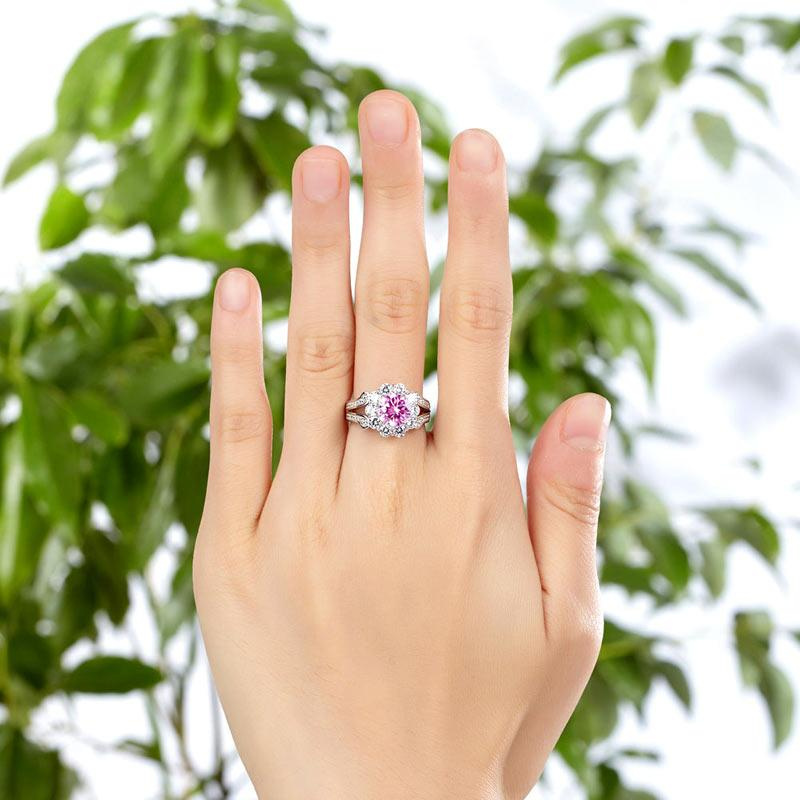 Art Deco Vintage style 925 Sterling Silver Wedding Ring 1.25 Ct Fancy Pink Created Diamond Promise Anniversary XFR8254