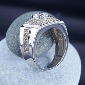 Men's Wedding Band Solid Sterling 925 Silver Ring Jewelry 1 Carat XFR8268