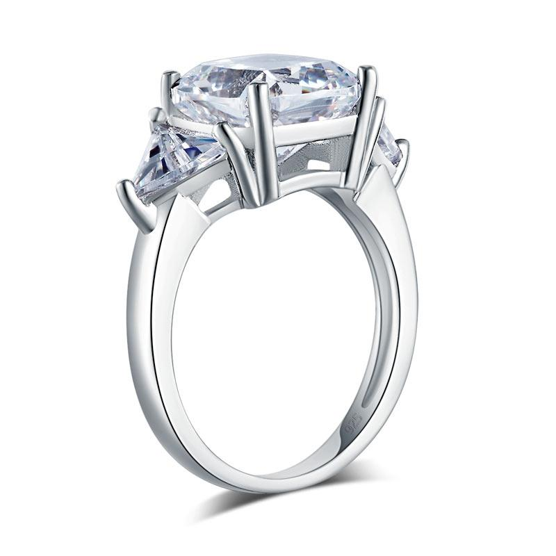 Cushion Cut 4 Carat Solid 925 Sterling Silver Ring Party Luxury Jewelry Created Diamante XFR8310