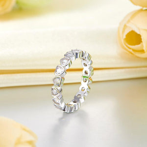 Eternity Wedding Band Heart Solid 925 Sterling Silver Stacking Ring Jewelry XFR8321