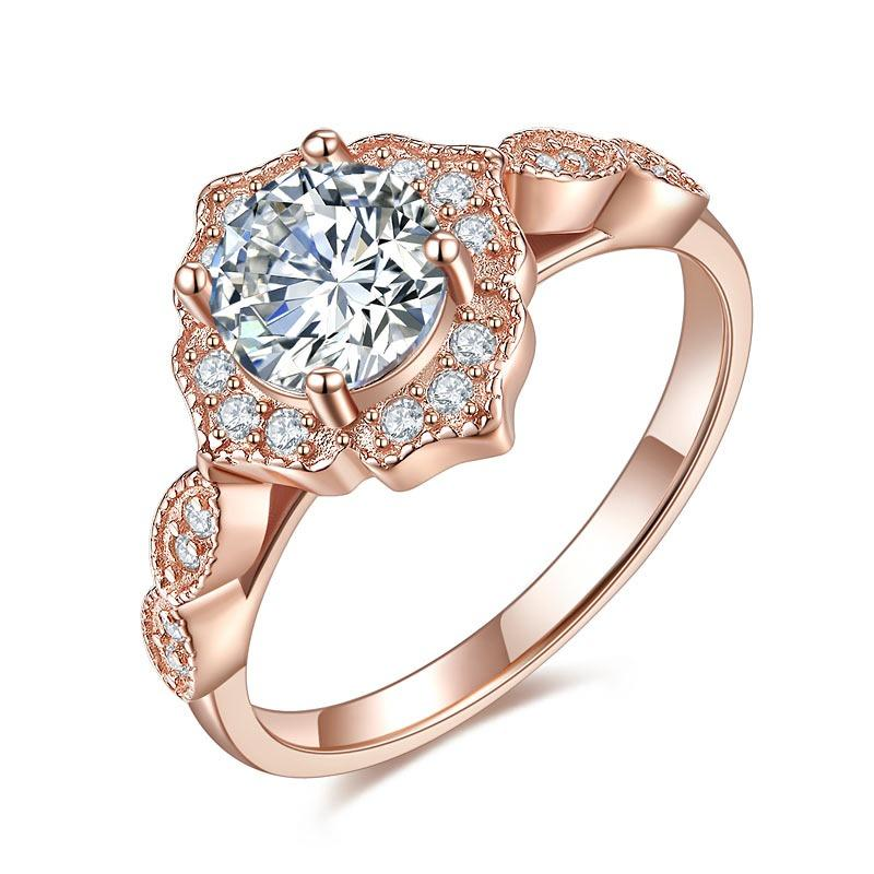 Vintage Style Art Deco Ring Solid 925 Sterling Silver Rose Gold Plated 1 Carat XFR8330