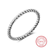 925 Sterling Silver Twisted Rope Design Women Finger Ring