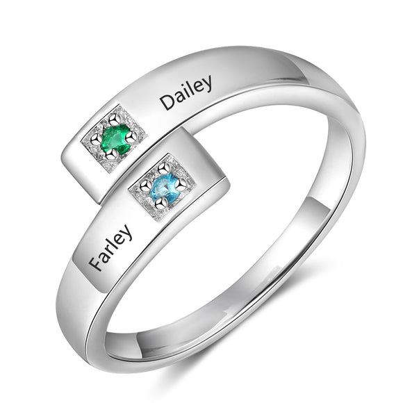 Personalized Birthstone Couple Ring for Women