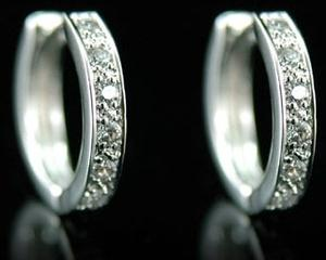 Hip Hop Cubic Zirconia 18K White Gold Plated Mens Earrings ME107