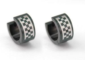 Mens Black Checkered Solid Stainless Steel Earrings ME138