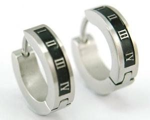 Two Tone Roman Number Stainless Steel Huggie Mens Earrings E191