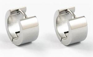 Plain Brush Stainless Steel Hoop Mens Earrings ME202