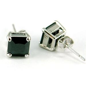 Hip Hop Black Square 6mm Cubic Zirconia Stud Mens Earrings  ME252