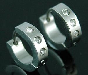 Shine 3 CZ Simulated Studs Stainless Steel Hoop Mens Earrings ME235
