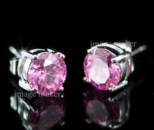 8 mm Pink Cubic Zirconia Stud 18K White Gold Plated Mens Earrings XME254