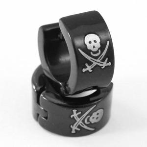 Black Skull Cross Swords Stainless Steel Mens Earrings XME267