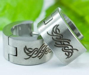Silver Tattoo Design Stainless Steel Hoop Mens Earrings ME272