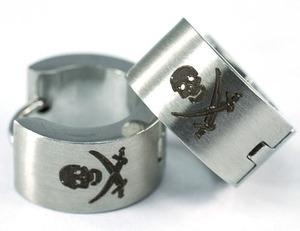 Silver Skull Cross Swords Stainless Steel Mens Earrings ME277