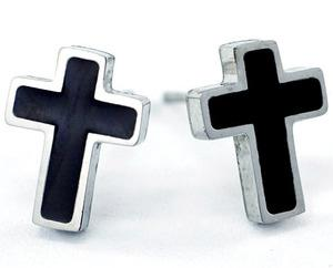 Silver & Black Cross Stainless Steel Mens Earrings ME278
