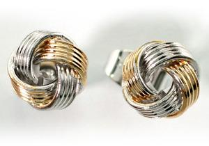 Hip Hop Silver & Gold Tone Twisted Knot 18k White Gold Plated Mens Earrings ME290