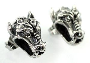 Halloween Biker Evil Bull Horn Gothic Cubic Zirconia Studs Steel Mens Earrings ME301