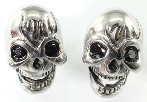 Gothic Skull Black Cubic Zirconia Studs Stainless Steel Mens Earrings ME304
