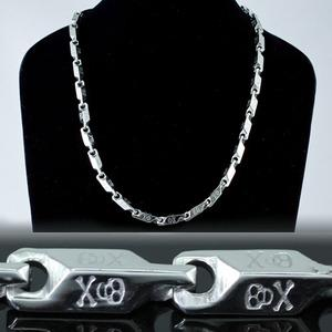 Silver Skulls Cross Bone Stainless Steel Links Mens Chain Necklace MN066