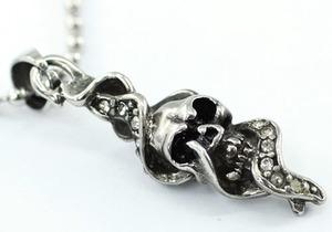 Gothic Skull Cubic Zirconia Studs Stainless Steel Mens Pendant Necklace MP013