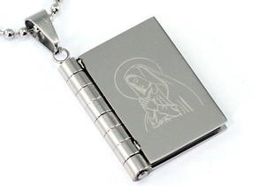 Religion Bible Book Cross Stainless Steel Mens Pendant Necklace MP064