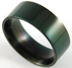 Biker Plain Black Solid Stainless Steel Mens Ring XMR017