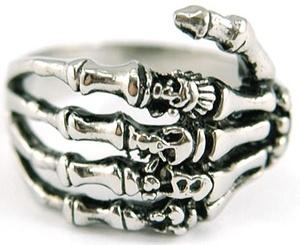 Mens Skeleton Hand Solid Stainless Steel Ring MR031