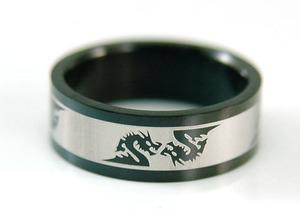 Hip Hop Black Double Dragon Stainless Steel Mens Ring MR046