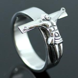 Jesus on Cross Crucifix Religion Stainless Steel Mens Ring MR079