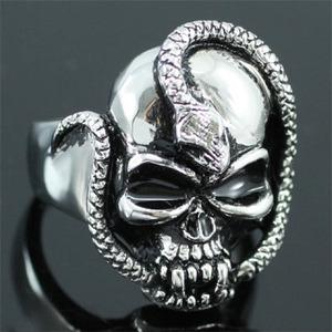 Halloween Skull Head Snake Cobra Stainless Steel Mens Ring MR087