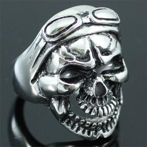 Biker Skull Head Goggles Stainless Steel Mens Ring XMR088