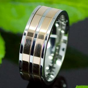 Biker Silver & Gold Tone Stainless Steel Spin Mens Ring XMR112