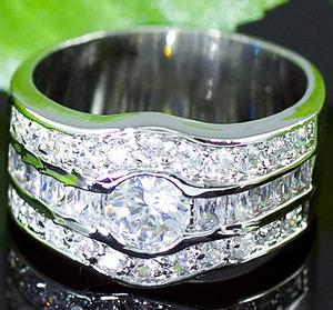 Cubic Zirconia Studs 18k White Gold Plated Wedding Mens Ring XMR128