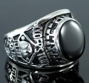 Tribal Black Agate Stainless Steel Champion Mens Ring MR129