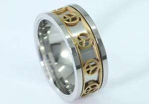 Silver Gold Tone Hip Hop Peace Sign Mens Stainless Steel Spin Ring MR147