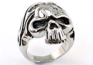 Biker Silver Tone Skull Magnetic Health Stainless Steel Mens Ring XMR150