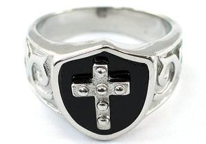 Religion Two Tone Cross Magnetic Health Stainless Steel Mens Ring MR151
