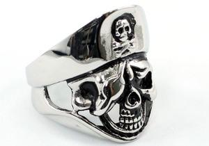 Gothic Pirate Skull Cross Bone Magnetic Health Stainless Steel Mens Ring MR152