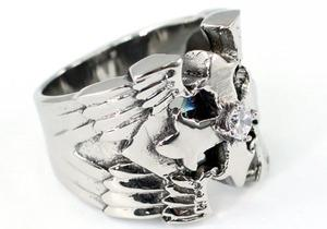Gothic Cross Cubic Zirconia Stud Magnet Health Stainless Steel Mens Ring MR157