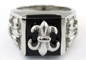 Silver Black Tone Gothic Cross Magnet Health Stainless Steel Mens Ring MR160