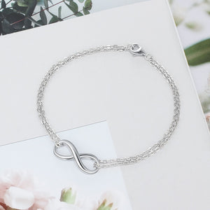 925 Sterling Silver Infinity Double Chain Bracelet