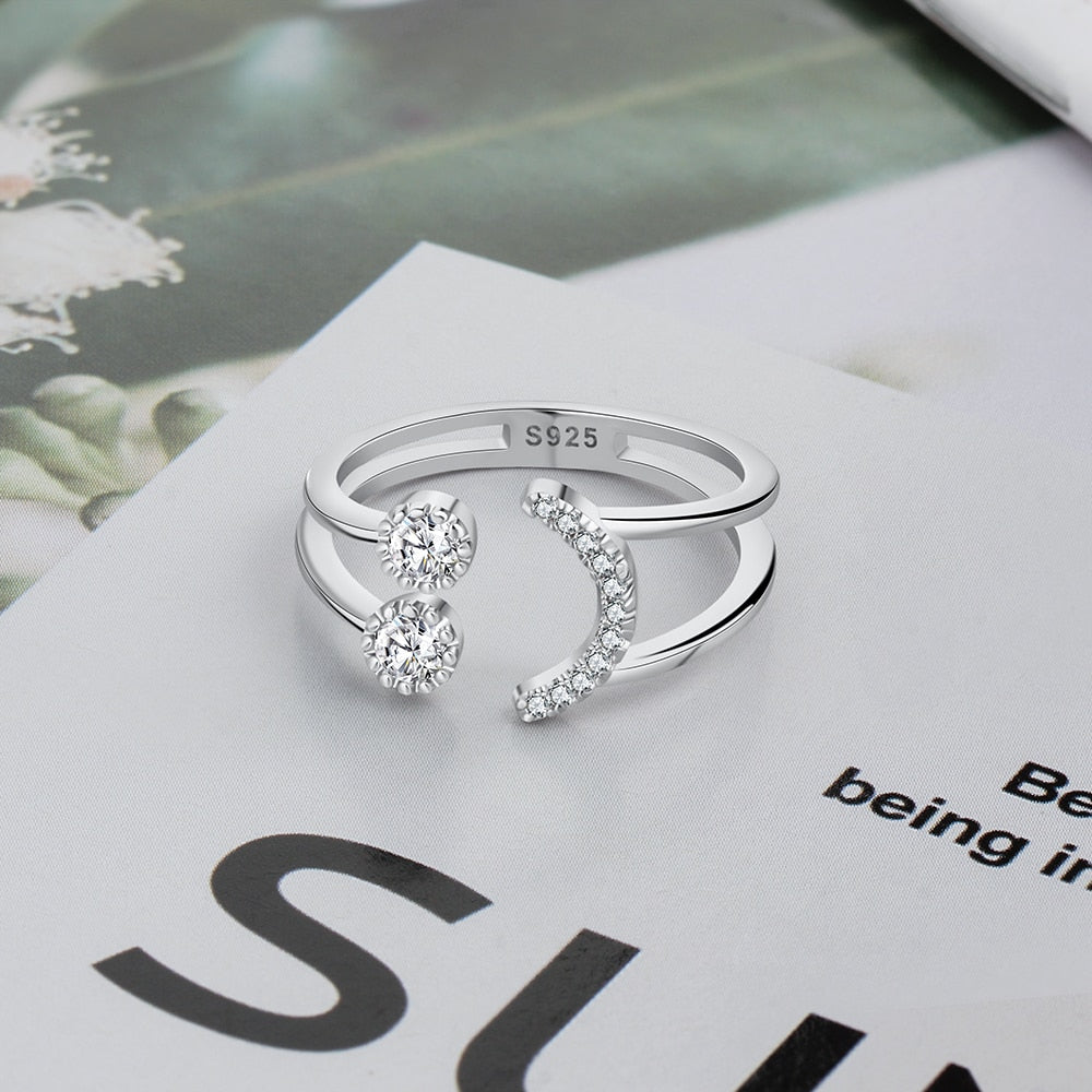 Re-sizable 925 Sterling Silver Sparkling Cubic Zirconia Smile Face Ring