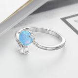 925 Sterling Silver Created Round Blue Opal with Cubic Zirconia Adjustable Wrap Ring